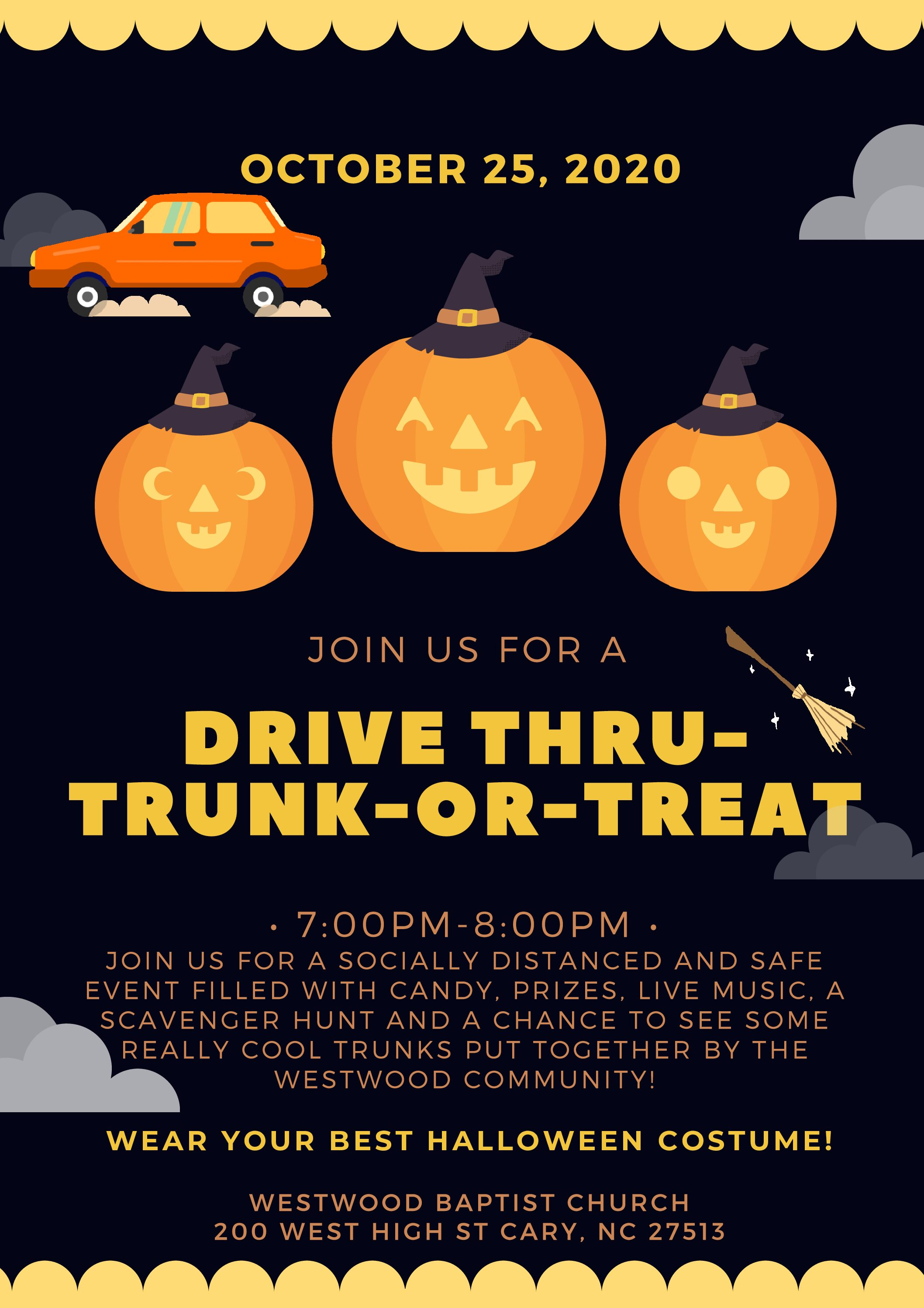 Drive Thru Trunk-or-Treat October 25th